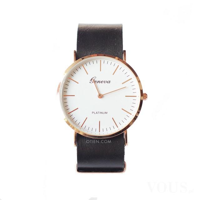Zegarek czarny a'la Daniel Wellington skórzany pasek idealny na prezent