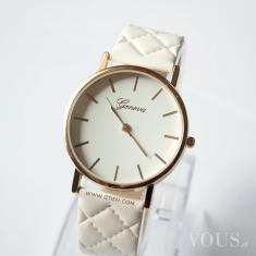 Zegarek biały kobiecy pikowany OTIEN