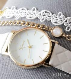 Piękne zegarki oraz bransoletki na www.otien.com – zegarek biały pikowany można idealnie z ...