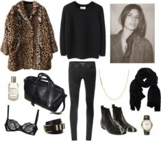 set with leopard coat