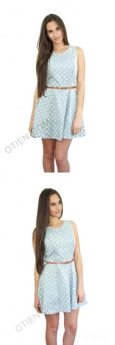 Sukienka w groszki OTIEN błękitna idealna na lato