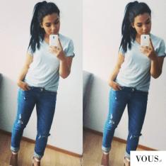 stylizacja, selfie, jeans