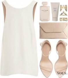 Biała mini sukienka, delikatna stylizacja