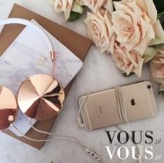 Stylowe słuchawki w kolorze różowego złota, gold, złoty iPhone, case, obudowa, różowe róże, beżo ...