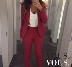 Elegancki zestaw- czerwona marynarka i dopasowane spodnie