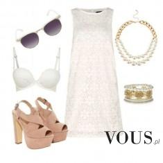 Biało- beżowo stylizacja, sukienka i złote dodatki