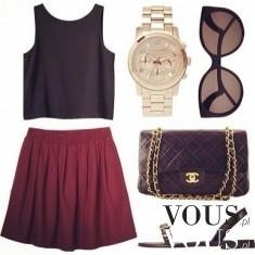 Stylizacja, spódnica bordo i czarny top