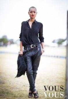 Czarna koszula i skórzane spodnie
