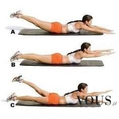 Ćwiczenie angażujące wiele mięśni: plecy, brzuch, pośladki. Ćwiczenie na wzmocnienie kręgosłupa