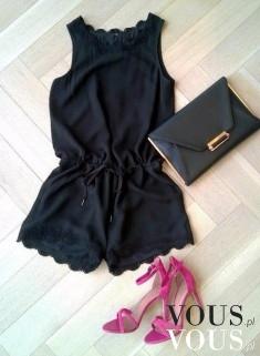 Krótki elegancki czarny kombinezon