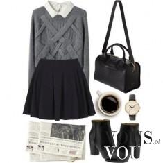 Grzeczna stylizacja- czarna rozkloszowana spódnica i szary sweterek