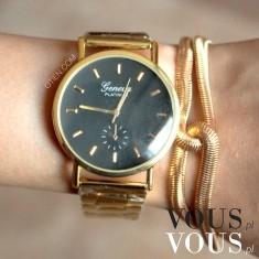 Zestaw OTIEN. zegarek czarny elegancki i złota bransoletka. W zestawie taniej 25%, Zestaw idealn ...