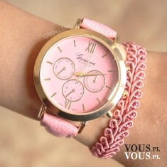 Zestaw OTIEN. zegarek różowy ażurowy i różowa koronkowa bransoletka. W zestawie taniej 25%, Zest ...