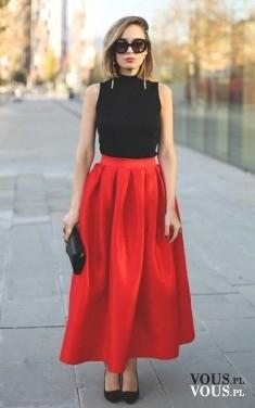 czerwona maxi spódnica, czy długie spódnice są modne, z czym nosić długie spódnice