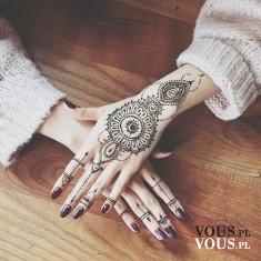 Biotatuaże na dłoniach, zmywalne tatuaże, tatuaże z henny, etno wzory