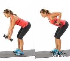 ćwiczenia na plecy, wiosłowanie, wiosłowanie sztangielkami, czy kobieta powinna ćwiczyć z ciężar ...