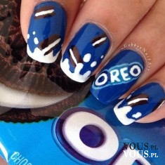 Ciasteczka Oreo na paznokciach, oreo manicure