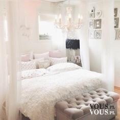 Cudowna sypialnia w jasnej kolorystyce. Łóżko z baldachimem. Sypialnia dla księżniczki! <3