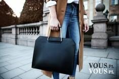 Czarna duża torba. Torba do ręki. Pojemna stylowa torebka.