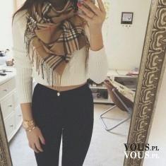 Brązowy szal w kratę- idealne dopełnienie stylizacji. Ciepły stylowy szal.