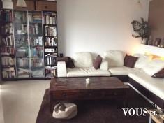 Stylowy salon. Salon w brązowo- białej kolorystyce. Przestronne wnętrze.