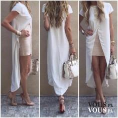 Biała sukienka z dłuższym tyłem, krótka spódniczka, obcisła mini