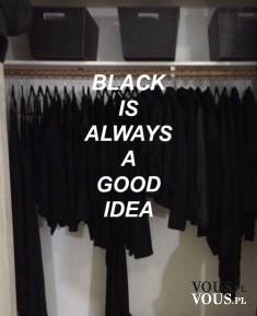 Czarne ubrania , szafa pełna ubrań