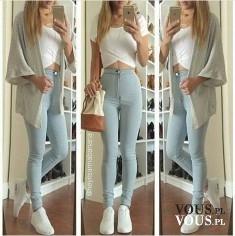 krótki biały top i obcisłe dżinsy z wysokim stanem, dziewczyna o szczupłych nogach
