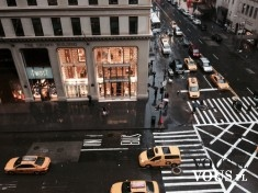 Nowojorska ulica z lotu ptaka, taxi w Nowym Jorku, New York
