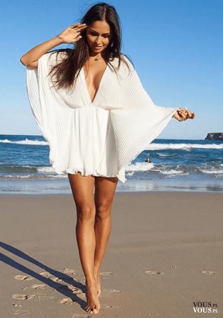 149398442 sukienka na plażę, biała luźna sukienka ⋆ VOUS.pl