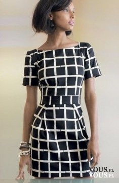 czarna sukienka w kratkę, biały wzór
