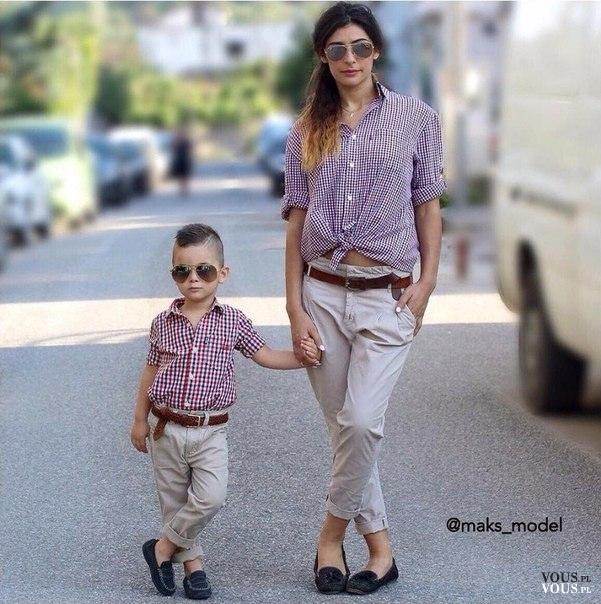 1dd1e1995841ee stylowa mama z dzieckiem, matka ubrana tak samo jak syn, koszula i luźne  spodnie