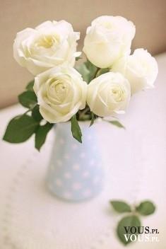 bukiet z białych róż