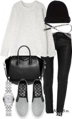 czarno-biała stylizacja, bluza