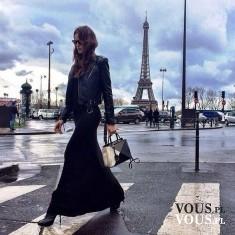 czarna długa sukienka, stylizacja z paryża