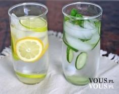 orzeźwiająca woda z cytryną, woda z miętą, woda z limonką
