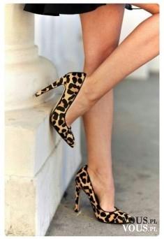 szpilki w panterkę, buty w centki