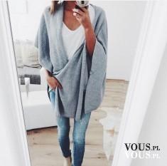 szary sweter, sweterek oversize, szara stylizacja, modna jesień