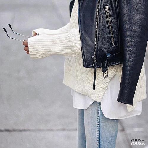2f99b8bcfa3eea jesienna stylizacja, skórzana ramoneska, biały sweter, czarna skóra ...