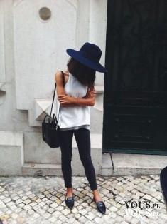 biała bluzka, kapelusz z rondem