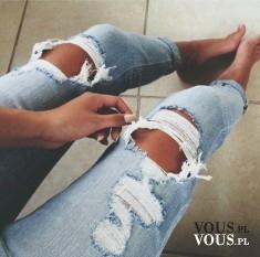 dżinsy z dziurami, dżinsy z przetarciami, spodnie, zgrabne nogi