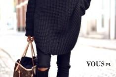 czarna stylizacja, sweter oversize, czarny sweter