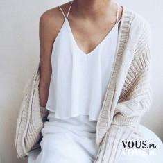 biała bluzka, bluzka na ramiączkach, bluzka z falbanami, biała stylizacja