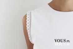 biała bluzka, rękaw z koronką, bluzka z koronką