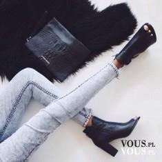 czarne botki na obcasie, buty na jesień