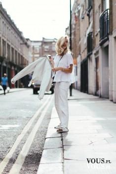 biała stylizacja, białe spodnie, luźna bluzka, biała bluzka