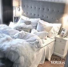 wystrój sypialni, duże łóżko z poduszkami