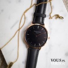 elegancki czarny zegarek