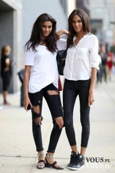 biała bluzka i czarne spodnie, klasyczny zestaw