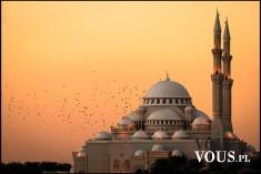zachód słońca, minaret, meczet